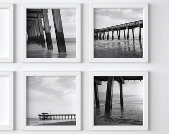 Pier black + white photo print set - One Free! - Boyfriend gift - Tybee Island photograph - Modern wall decor - Matching art - Square prints