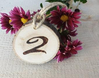 Ten Rustic Wedding Table Numbers, Wood Burned Table Numbers, Tree Slice Table Numbers