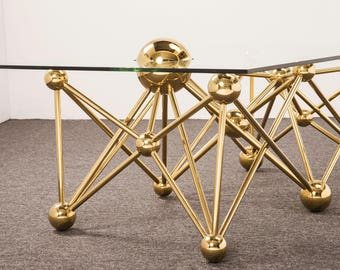 Glass Coffee Table, Ball Gold Round Coffee Table Legs,Marble Coffee Table,  Coffee