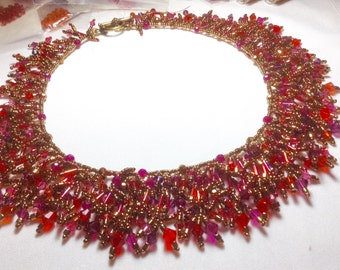 The Fire Bird--By Lady Grey Beads--Multicolored Statement Bead Woven Necklace Pink Purple Orange Fuschia Swarovski Crystals Bronze Beads