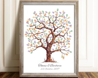 Printable fingerprint tree, Customizable Thumbprint tree , wedding Guestbook,  christening fingerprint tree, birthday fingerprint