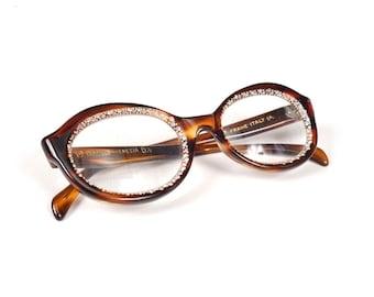 Vintage Safilo Venezia Italian Eyeglasses - Tortoiseshell Rhinestones - 46 / 20 - 5 1/2 - Frames With Hard Case - Eyewear