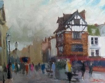 "Blue Boar Row, Salisbury. Original oil painting. 9""x12"""