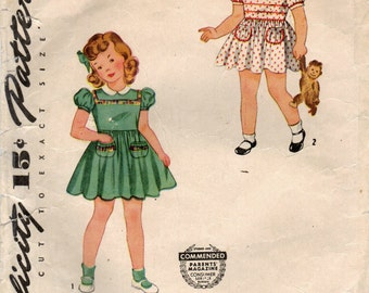 1940s Simplicity 4175 Vintage Sewing Pattern Girl's Dress, Full Skirt Dress Size 4