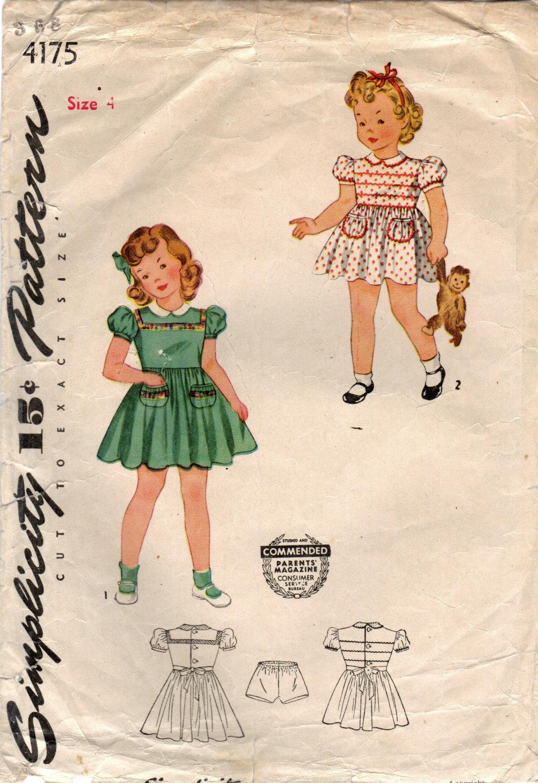 1940er Jahre Einfachheit 4175 Vintage Nähen Muster Mädchen
