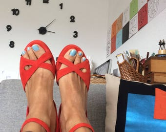 Vintage Nimal Scarlet Wedge Sandals / 70'ish Style/ / Size EUR 39