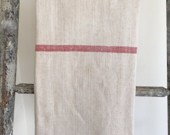 Vintage French hemp and linen table cloth