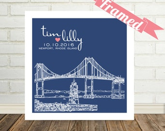 Newport Skyline Newport Art Personalized Wedding Gift FRAMED ART Newport RI Any City Worldwide Personalized Engagement Gift Newport Wedding