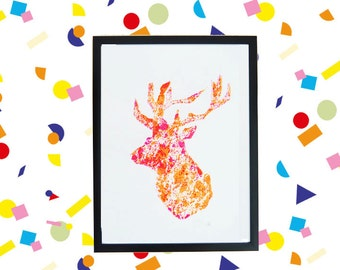 SALE NEON! linoprint Deer