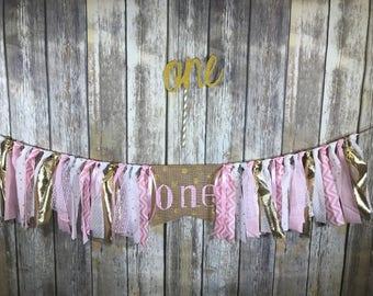 Gold Pink First Birthday Banner, First Birthday Banner Girl, High Chair Birthday Banner Girl, Pink Gold First Birthday, Gold Cake Topper