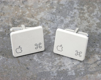 Apple Command Key Cuff Links - Sterling Silver Plated, Recycled,white, MAC, men, wedding, anniversary, birthday, gift