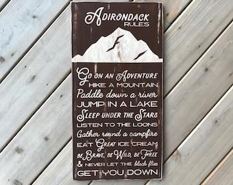 Summer Adirondack Rules Sign - Adirondack Decor - Mountain Decor - Cabin Decor - Lake Decor - Wood Sign - Family Rules - Cabin Rules
