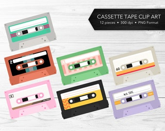 Cassette Tape Clip Art -- Eighties, Nineties, Retro Clip Art, Music Clip Art, Funky, Colorful, Vintage, Commercial Use, Instant Download