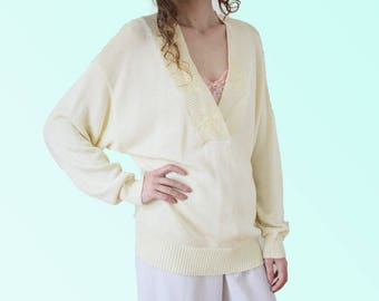 80s Soft Yellow Rayon Knit Vintage Sweater V-neck Embroidered Slouchy Knit Cozy Winter Knitwear VTG