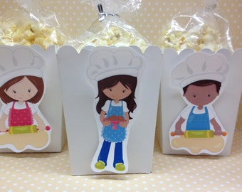 Baking Kids Popcorn or Favor Boxes - Set of 10