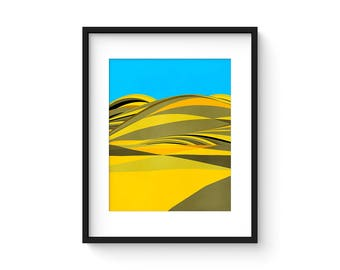 FOOTHILLS no.67 - Mid Century Style Modernist Abstract Landscape Print
