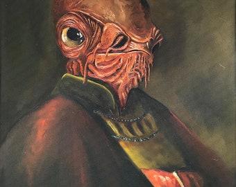 Admiral Ackbar Star Wars Parody Painting- Print Poster Canvas - Repurposed Art - Funny Gift for Star Wars Fan, Star Wars Pop Culture Parody