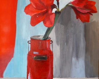 Amaryllis in red can
