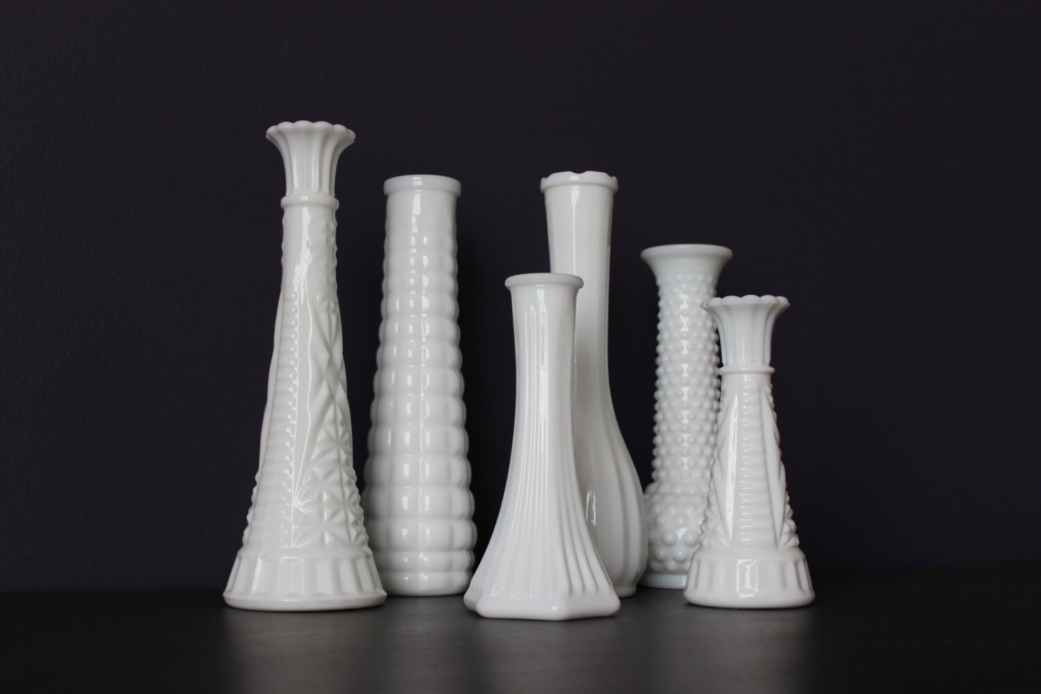 Set of 6 vintage milk glass vase lot milk glass wedding zoom reviewsmspy
