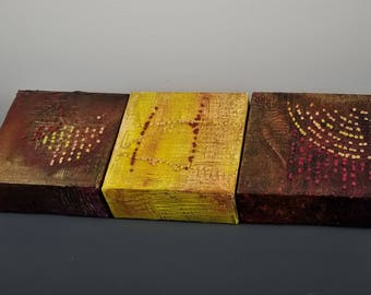 "Triptych Painting on Canvas (3) 4""x4"" with Fiber Stitching ""Planets Collide- Bronze & Gold"""