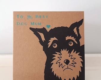 """Dog Mum / Dog Mom Mother's Day Card // Dog Card // Schnauzer Mum // Schnauzer Print // Schnauzer Card (12 cm x 12 cm / 4.7"""" x 4.7"""")"""