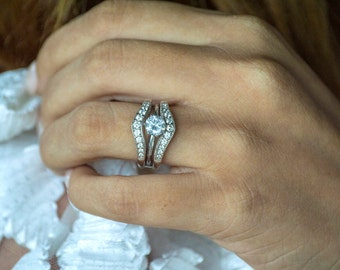 Vintage Filigree Contour Ring Guard - Sterling Silver Ring Enhancer with .74ct Cubic Zirconia