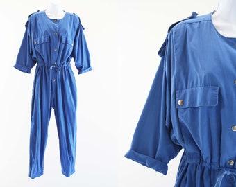 Vintage Diane Von Furstenberg Blue Long Sleeve Relaxed Fit Oversize Cinch Waist Utility Style Retro Woman's Cotton Jumpsuit