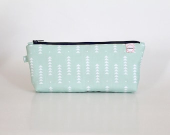 Zipper Pouch, Mint triangles, Long pouch, planner bag, Small Makeup bag, Organizer, Cosmetic bag, gift for mom, bridesmaid gift, girl