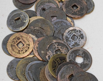 Beads Chinese I Ching Coins Vintage Brass Good Luck 22mm - 25mm