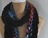 Bulky, Wrapping, Scarf, Handspun Yarn, Handknit Knit Scarf, Wool, Soft, Black and Rainbow