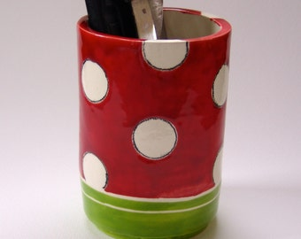 colorful pottery Utensil Holder -or- Pencil Cup / Vase whimsical polka-dots, bright red & Lime, ready-to-ship