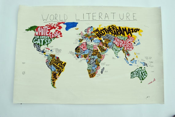 World literature map book lover gift literary gifts gumiabroncs Image collections