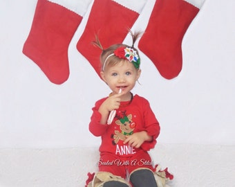 Rudolph Ruffled Romper, Reindeer Ruffled Romper, Christmas Romper, Personalized Romper