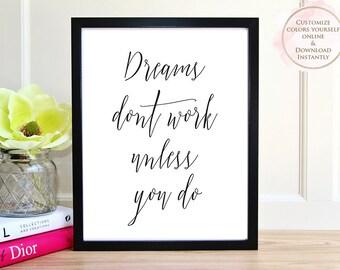 Printable wall art, Printable Quote, Wall Art Prints, Inspirational Art, Motivational Art, Printable Art, Home decor, Printable Gift, Dream.