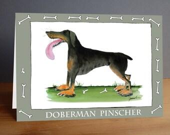 doberman pinscher -  fun greeting card from tony fernandes design