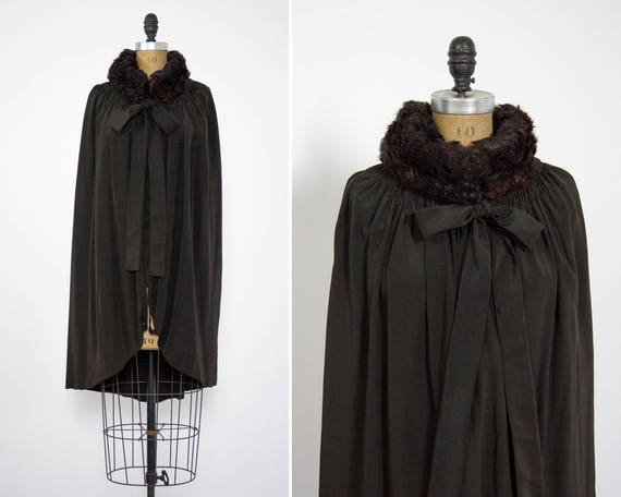 vintage 1920s silk cape | curly lambs fur collar | victorian edwardian cape | 20s art deco capelet