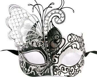 Masquerade Mask, Venetian Masquerade Mask, Mardi Gras Masquerade Mask - Black/Silver