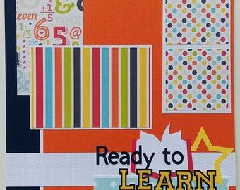Scrapbook page - Premade scrapbook page - Scrapbook layout - 12x12 scrapbook page - School scrapbook - First day of school - Back to school