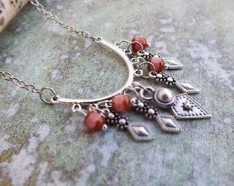 Boho Charm Necklace,  Boho beads necklace, Burved bar necklace,Tribal Charms Necklace, festival jewellry