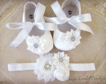 White Satin Baby Girl Shoes,Soft Sole Shoes with Headband Set
