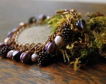 Rustic Wedding Charm Bracelets Set of 2 Woodland Vintage Style Bridesmaid Gifts, Botanical Beaded Jewelry, FREE Aust Shipping/ Ready to Ship
