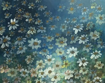 Floral Flowers Daisies Acrylic Original Painting by Canadian Artist Judy M. Roth