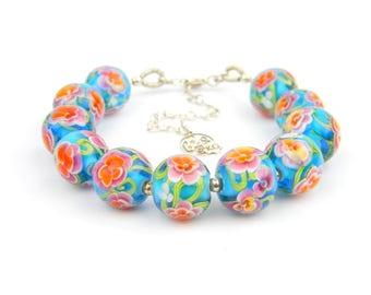 Art Glass Full Bracelet - Tropical Art Glass Bead Sterling Silver Full Bracelet - Classic Collection