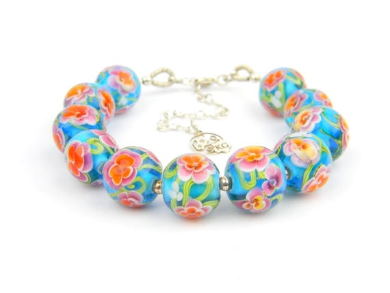 Art Glass Full Bracelet - Tropical Art Glass Bead Sterling Silver Full Bracelet - Classic Collection