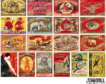 MATCHBOX MEDLEY I - Digital Printable Collage Sheet - Vintage Matchbox Labels, Antique Matches, 1920s Circus Animals, Instant Download