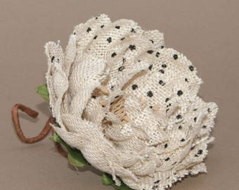Polka Dot Cream Burlap Peony Pick - Cream with Black Dots - Artificial Flowers, Silk Flowers
