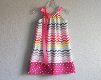 Girls Chevron Stripe Pillowcase Dress - Girls Easter Dress in Rainbow Stripes and Polka Dots - Size 12m, 18m, 2T, 3T, 4T, 5, 6, 8 or 10