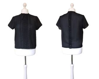 50's Vintage Blouse | 1950's Fashion | Button Back Blouse | Black Lace Blouse