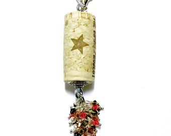 Lederhosens & Gewurtztraminers color-burst cork floating keychain with Swarovski crystals