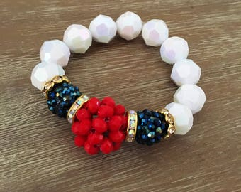 Stretch Bead Bracelet – Large Bead Bracelet, Red, White, Blue, Our Top Selling Bracelet for Spring 2018